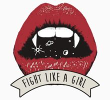 Vampire Fangs fight like a girl Kids Tee