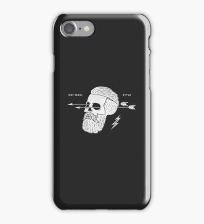 Poster of vintage skull hipster label iPhone Case/Skin