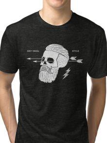 Poster of vintage skull hipster label Tri-blend T-Shirt