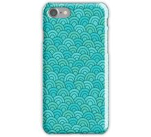 Blue waves doodle pattern. Hand drawn seamless background.  iPhone Case/Skin