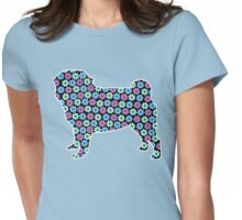 Spring Floral Pug Womens Fitted T-Shirt