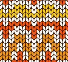 Orange seamless knitting pattern. Autumn background. Sticker