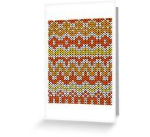 Orange seamless knitting pattern. Autumn background. Greeting Card
