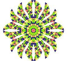 Stained Glass Illusion Mandala Photographic Print