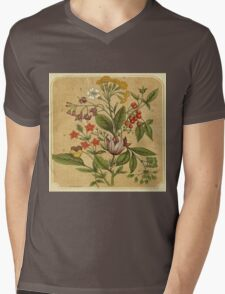 Vintage,rustic,shabby chic,hand drawn flower illustration from the victorian era Mens V-Neck T-Shirt