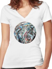 RGB Marble Painting Women's Fitted V-Neck T-Shirt