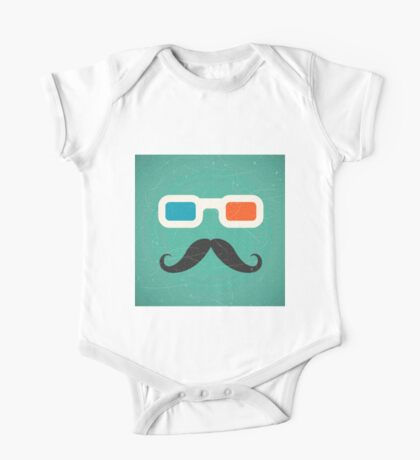 Hipster,3d glasses,mustache,green rustic background,trendy,modern One Piece - Short Sleeve