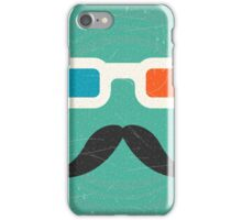 Hipster,3d glasses,mustache,green rustic background,trendy,modern iPhone Case/Skin