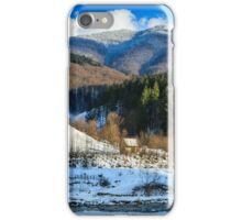coniferous forest on the snowy mountain peaks iPhone Case/Skin