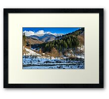 coniferous forest on the snowy mountain peaks Framed Print