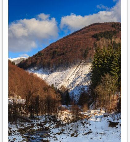 stream between snowy mountains with deciduous and conifer forest Sticker