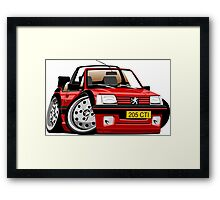 Peugeot 205 CTI caricature red Framed Print
