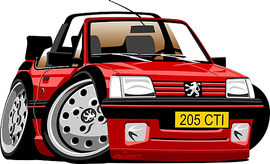 Peugeot 205 CTI caricature red by car2oonz