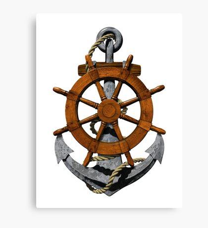 Nautical Ships Wheel And Anchor Canvas Print
