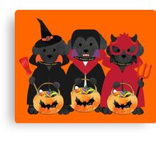 Cute Black Lab Preppy Puppies Halloween Costumes Canvas Print