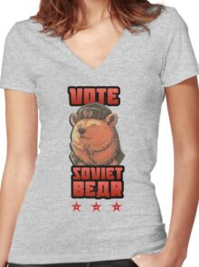 Russia says vote for Soviet Bear Women's Fitted V-Neck T-Shirt
