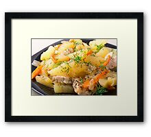 Slices of stewed potatoes, chicken, carrot and onion Framed Print