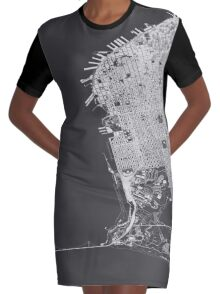 San Francisco in wireframe Graphic T-Shirt Dress