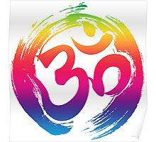 ohm rainbow symbol meditation yoga pose gym fitness shirt Poster