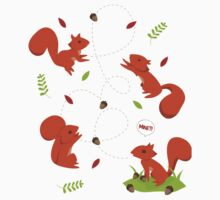 Feisty Squirrels Food Fight One Piece - Short Sleeve