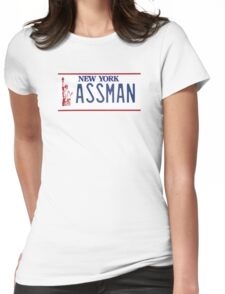 Cosmo Kramer Seinfeld Assman New York NY plate Womens Fitted T-Shirt