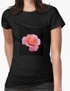 Tender Pink Rose on Black Background T-Shirt