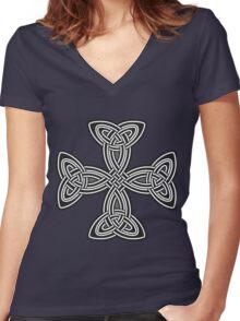 Celtic cross,black and white,christ,christian,jesus,faith,spirituality,antiqued Women's Fitted V-Neck T-Shirt