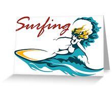 Surfing Club or Camp Emblem Greeting Card