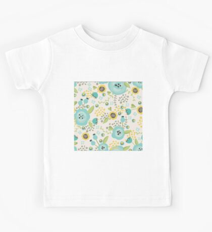 retro,cute,floral,pattern,shabby chic,vintage,1970 era,turquoise,lime,green,beige,grey,yellow Kids Tee