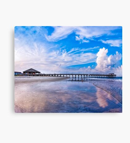 Tybee Island Beach And Pier On a Beautiful Day Canvas Print