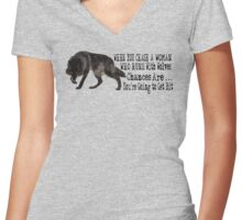 Runs with Wolves Women's Fitted V-Neck T-Shirt