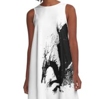 Dragon Black Grunge  A-Line Dress