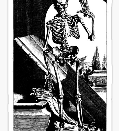 Skeleton with hour glass, As time goes by Sticker