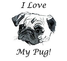 I Love My Pug! T-Shirt , Hoodie, Phone Cases & More! Photographic Print