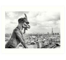 Notre Dame Gargoyle Overlooking Paris Cityscape Art Print