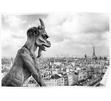 Notre Dame Gargoyle Overlooking Paris Cityscape Poster