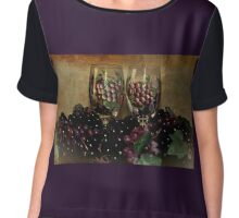 Hand Painted Wine Glasses, Grapes & More 2nd Rendition Chiffon Top