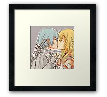 Kirito and Asuna Kissing Sword Art Online Doodle Glowing Framed Print
