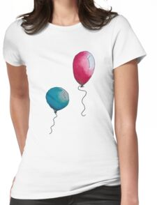 Blue & Red Balloons Watercolor Womens Fitted T-Shirt