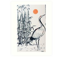 Bamboo and Crane Art Print