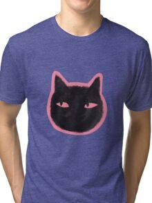 Black Cats Peeking Pattern Tri-blend T-Shirt