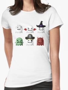 Cute Halloween Ghost Emoji Devil Pirate Frankenstein Womens Fitted T-Shirt