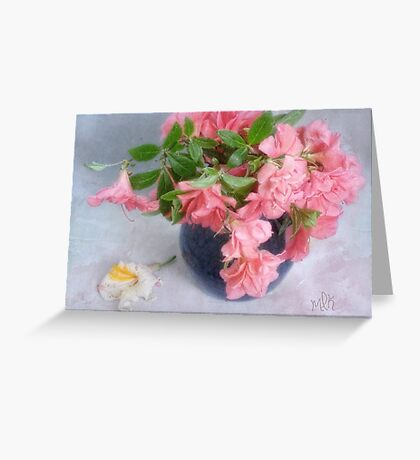 Pink Azaleas in a Blue Vase Greeting Card
