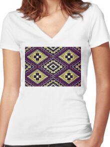Navajo Vintage Lilac Crazy Quilt Women's Fitted V-Neck T-Shirt
