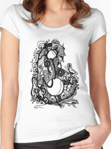 The Letter B Alphabet Aussie Tangle in Black and White Transparent Background Women's Fitted Scoop T-Shirt