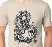 The Letter B Alphabet Aussie Tangle in Black and White Transparent Background Unisex T-Shirt