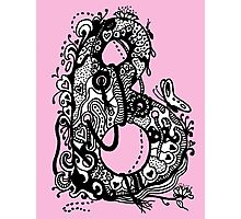 The Letter B Alphabet Aussie Tangle in Black and White Transparent Background Photographic Print