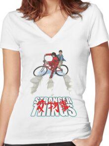 Stranger Things X AKIRA mashup Women's Fitted V-Neck T-Shirt