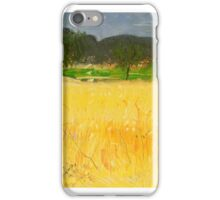 French pastel landscape with yellow foreground iPhone Case/Skin