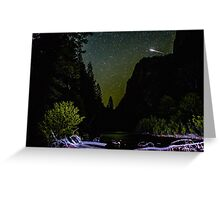Meteor Shooting Over King's Canyon Stream Greeting Card